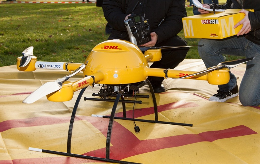 "In 2013, the DHL parcel service tested a ""microdrones md4-1000"" for delivery of medicine"